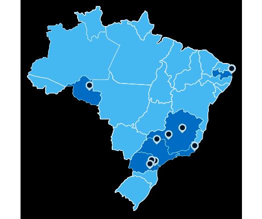 Nosso sistema de vídeowall e mídia indoor está instalado em vários clientes em todo o Brasil.
